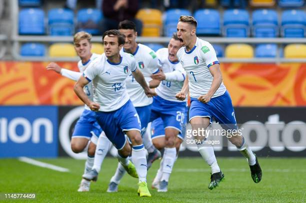 STADIUM GDYNIA POMERANIA POLAND Davide Frattesi from Italy seen celebrating after scoring a goal during the FIFA U20 World Cup match between Mexico...