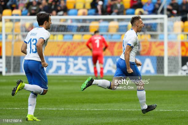 Davide Frattesi of Italy celebrates after scoring his team's first goal during the 2019 FIFA U20 World Cup group B match between Mexico and Italy at...