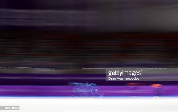 Davide Ghiotto of Italy and Jorrit Bergsma of the Netherlands compete during the Speed Skating Men's 10,000m on day six of the PyeongChang 2018...