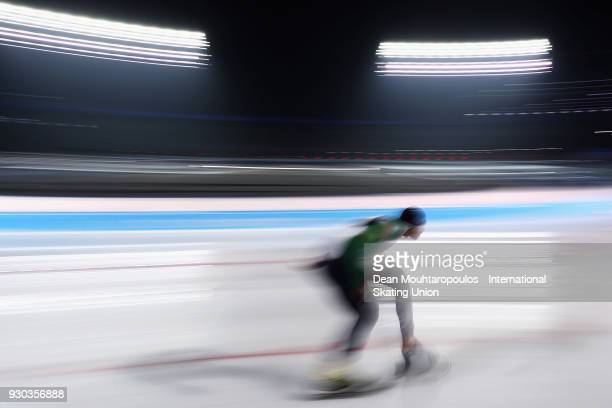 Davide Ghiotto of Italy competes in the 5000m Mens race during the World Allround Speed Skating Championships at the Olympic Stadium on March 10 2018...