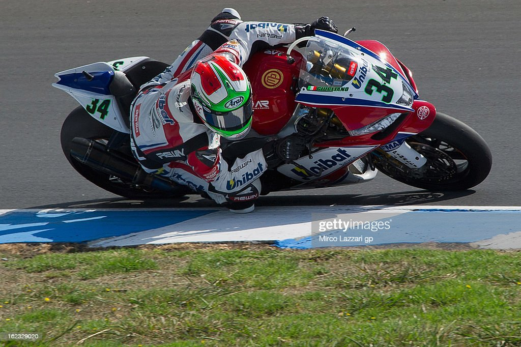 Davide Giugliano of Italy and Althea Racing rounds the bend during qualifying practice ahead of the World Superbikes at Phillip Island Grand Prix Circuit on February 22, 2013 in Phillip Island, Australia.