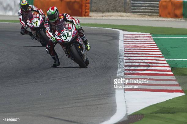 Davide Giugliano of Italy and Ducati Superbike Team leads the field during the FIM Superbike World Championship Free Practice at Portimao Circuit on...