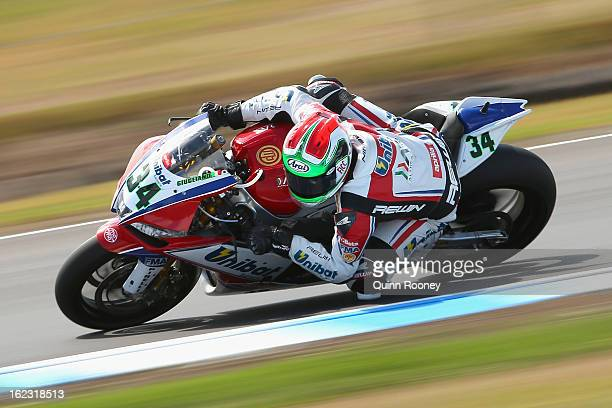 Davide Giugliano of Italy riding the Althea Racing Aprilia during free practice ahead of the World Superbikes at Phillip Island Grand Prix Circuit on...