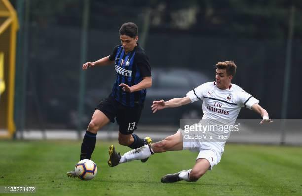 Davide Grassini of FC Internazionale and Daniel Maldini of AC Milancompete for the ball during the Serie A Primavera match between FC Internazionale...