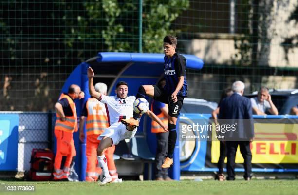 Davide Grassini of FC Internazionale in action during Fc internazionale U19 V Cagliari U19 match at Stadio Breda on September 14 2018 in Sesto San...