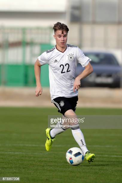 Davide Itter of Germany in action during the U19 International Friendly between U19 Cyprus and U19 Germany at Anagennisi Dherynia Stadium on November...