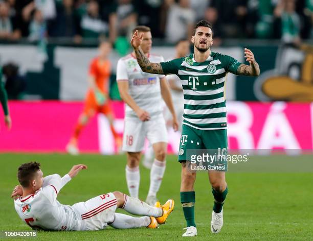 Davide Lanzafame of Ferencvarosi TC reacts after his foul against Bence Pavkovics of DVSC during the Hungarian OTP Bank Liga match between...