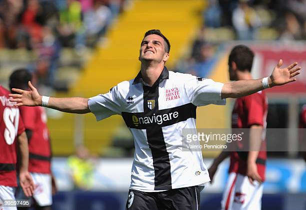 Davide Lanzafame of Parma FC celebrates his goal during the Serie A match between Parma FC and AS Livorno Calcio at Stadio Ennio Tardini on May 16,...