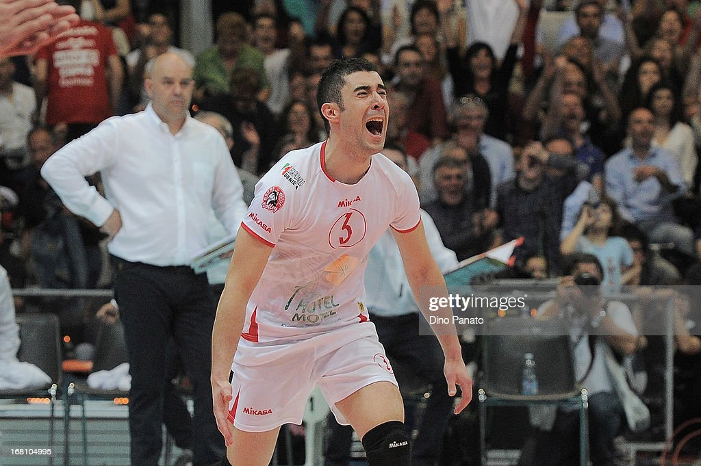 Davide Marra of Copra Elior Piacenza celebrates after scoring a point during game 4 of Playoffs Finals between Copra Elior Piacenza and Itas Diatec Trentino at Palabanca on May 5, 2013 in Piacenza, Italy.