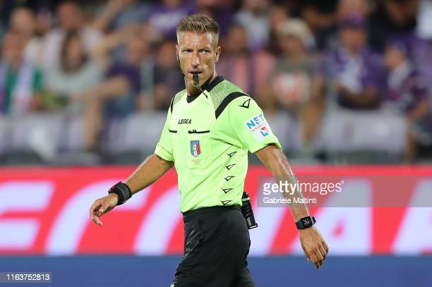 Davide Massa referee during the Serie A match between ACF Fiorentina and SSC Napoli at Stadio Artemio Franchi on August 24, 2019 in Florence, Italy.