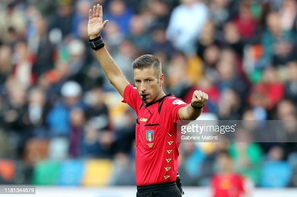 Davide Massa referee during the Serie A match between Udinese Calcio and SPAL at Stadio Friuli on November 10, 2019 in Udine, Italy.