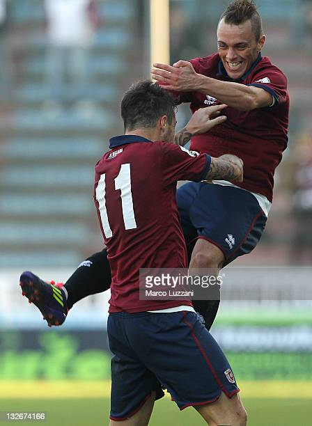 Davide Matteini of AC Reggiana celebrates with his teammate Simone Esposito after scoring his goal during the Lega Pro match between AC Reggiana and...