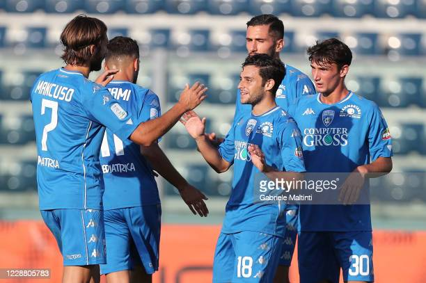 Davide Merola of Empoli FC celebrates after scoring a goal during Coppa Italia second round match between Empoli FC and AC Renate at Stadio Carlo...