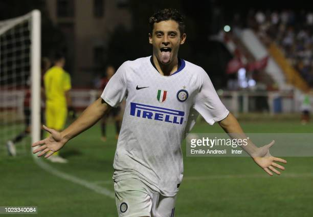 Davide Merola of FC Internazionale celebrates after scoring the opening goal during the Trofeo Mamma Cairo match between FC Internazionale U19 and AC...