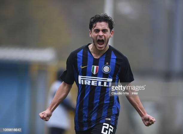 Davide Merola of FC Internazionale celebrates after scoring the fourth goal during the Serie A Primavera match between FC Internazionale U19 and FC...