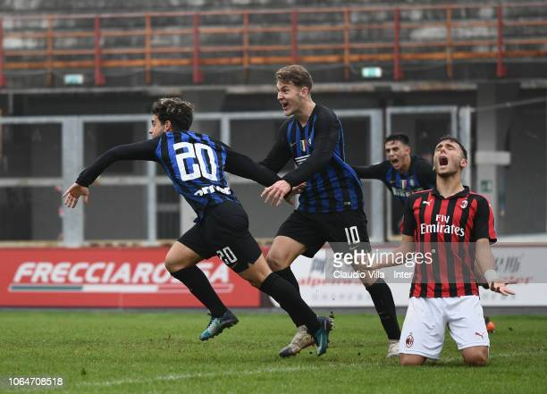 Davide Merola of FC Internazionale celebrates after scoring the fourth goal during a match between AC Milan and FC Internazionale at Stadio Franco...