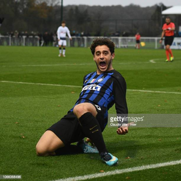 Davide Merola of FC Internazionale celebrates after scoring the third goal during the UEFA Youth League match between Tottenham Hotspur and FC...