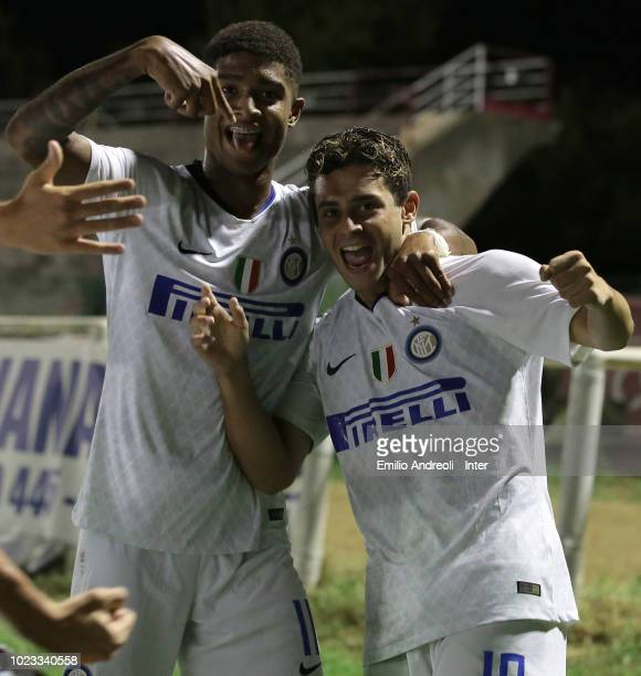 Davide Merola of FC Internazionale celebrates with his teammate Eddie Salcedo after scoring the opening goal during the Trofeo Mamma Cairo match...