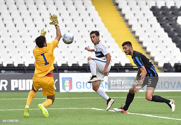Davide Merola of FC Internazionale Milano scores the opening goal during Serie A U17 Finals between FC Internazionale Milano and Atalanta Bergamasca...