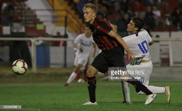 Davide Merola of FC Internazionale scores the opening goal during the Trofeo Mamma Cairo match between FC Internazionale U19 and AC Milan U19 on...