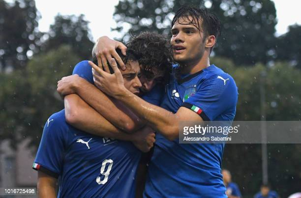 Davide Merola of Italy U19 celebrates with teammates after scoring his team's third goal during the International Friendly Italy U19 and Croatia U19...