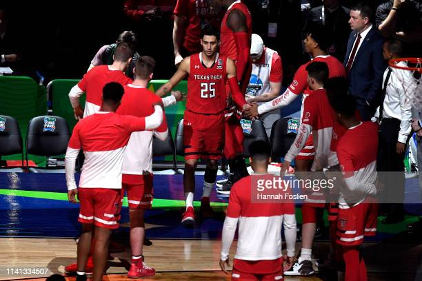 Davide Moretti of the Texas Tech Red Raiders is introduced prior to the 2019 NCAA men's Final Four National Championship game against the Virginia...