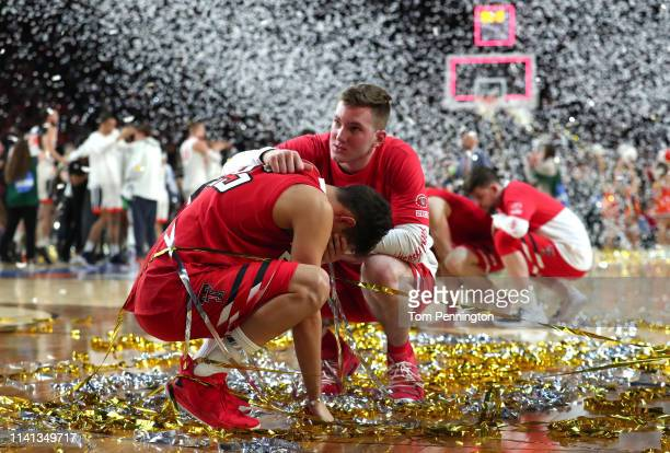 Davide Moretti of the Texas Tech Red Raiders reacts after his teams 8577 loss to the Virginia Cavaliers during the 2019 NCAA men's Final Four...