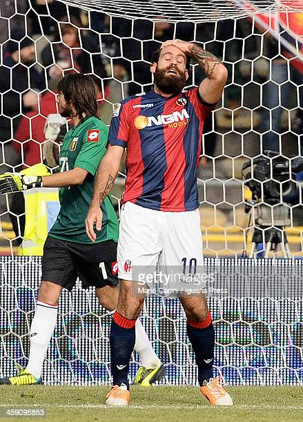 Davide Moscardelli of Bologna FC reacts during the Serie A match between Bologna FC and Genoa CFC at Stadio Renato Dall'Ara on December 22 2013 in...