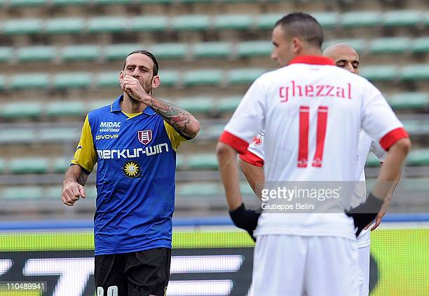 Davide Moscardelli of Chievo Verona celebrates after scoring his team's second goal during the Serie A match between AS Bari and AC Chievo Verona at...