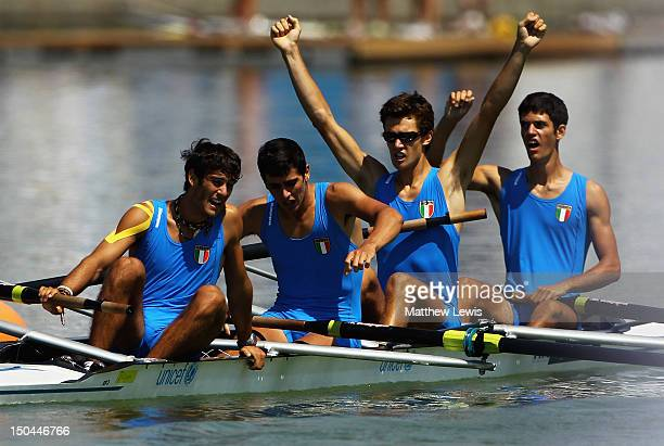 Davide Mumolo Andrea Crippa Tiziano Evangelisti and Luca Rambaldi of Italy pictured after winning the Junior Mens Quad Sculls during day four of the...