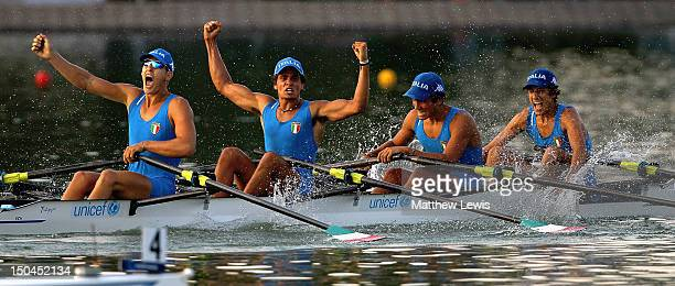 Davide Mumolo Andrea Crippa Tiziano Evangelisti and Luca Rambaldi of Italy celebrate winning the Junior Mens Quad Sculls Final during day four of the...