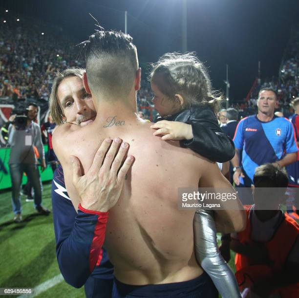 Davide Nicola and Diego Facinelli of Crotone celebrate after the Serie A match between FC Crotone and SS Lazio at Stadio Comunale Ezio Scida on May...
