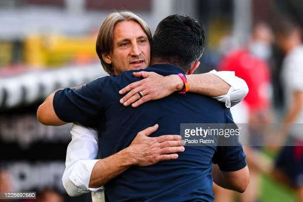 Davide Nicola coach of Genoa hugs Gennaro Gattuso coach of Napoli before the Serie A match between Genoa CFC and SSC Napoli at Stadio Luigi Ferraris...