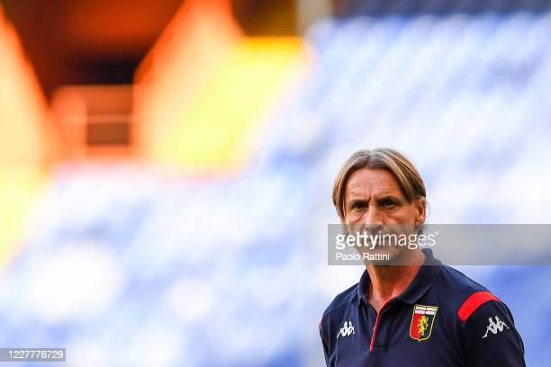 Davide Nicola coach of Genoa looks on before the Serie A match between Genoa CFC and FC Internazionale at Stadio Luigi Ferraris on July 25, 2020 in...
