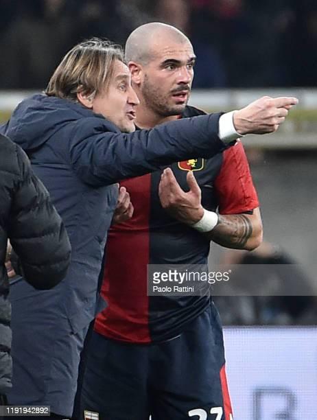 Davide Nicola head coach of Genoa CFC and Stefano Sturaro during the Serie A match between Genoa CFC and US Sassuolo at Stadio Luigi Ferraris on...