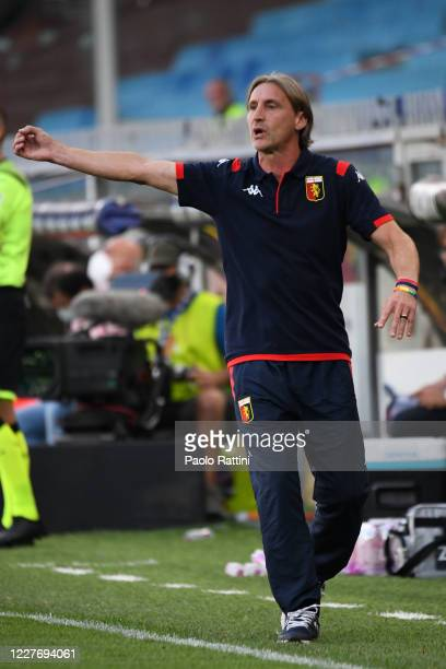 Davide Nicola head coach of Genoa CFC gestures during the Serie A match between Genoa CFC and US Lecce at Stadio Luigi Ferraris on July 19, 2020 in...