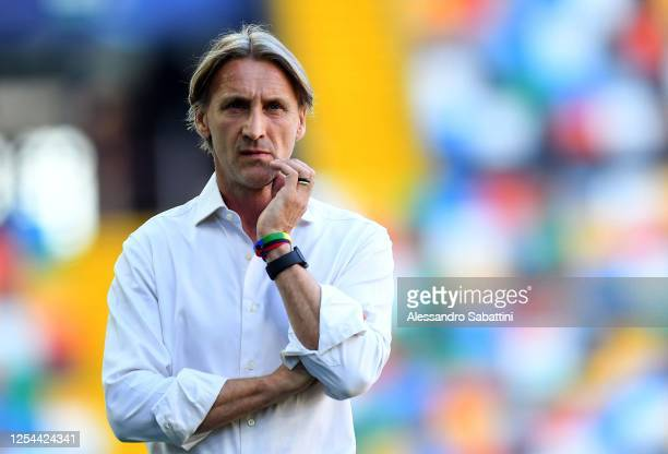 Davide Nicola head coach of Genoa CFC looks on during the Serie A match between Udinese Calcio and Genoa CFC at Stadio Friuli on July 05, 2020 in...