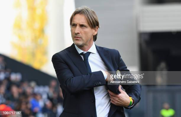 Davide Nicola head coach of Udinese Calcio looks on before the Serie A match between Udinese and AS Roma at Stadio Friuli on November 24 2018 in...