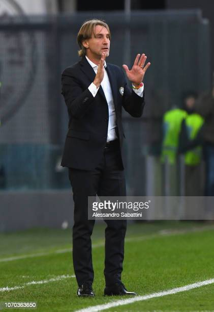 Davide Nicola head coach of Udinese Calcio reacts during the Serie A match between Udinese and Atalanta BC at Stadio Friuli on December 9 2018 in...
