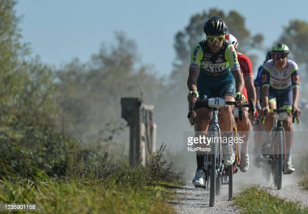 Davide Orrico of Italy and Vini Zabu' Team leads the pack during the Serenissima Gravel, the 132.1km bicycle pro gravel race from Lido di Jesolo to...