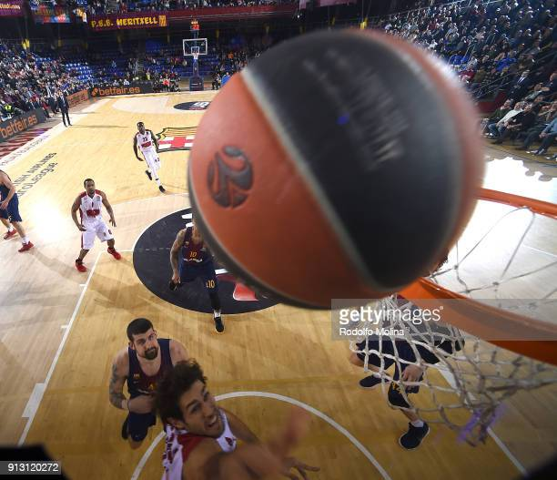 Davide Pascolo #7 of AX Armani Exchange Olimpia Milan in action during the 2017/2018 Turkish Airlines EuroLeague Regular Season Round 21 game between...