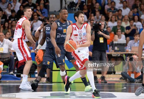 Davide Pascolo of EA7 Emporio Armani Milano handles the ball against during LegaBasket Serie A Playoffs match 3 beetwen Dolomiti Energia Trentino and...
