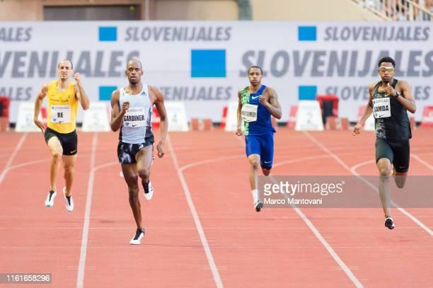 Davide Re of Italy Steven Gardiner of Bahrain Kahmari Montgomery of USA and Abderrahman Samba uf Qatar compete in men's 400m at Louis II Stadium on...