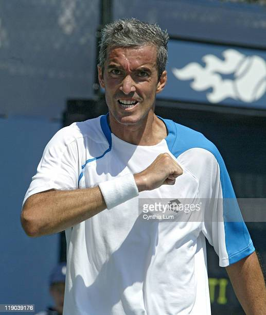 Davide Sanguinetti during his match against Carlos Moya in the second round of the 2005 US Open at the USTA National Tennis Center in Flushing, New...