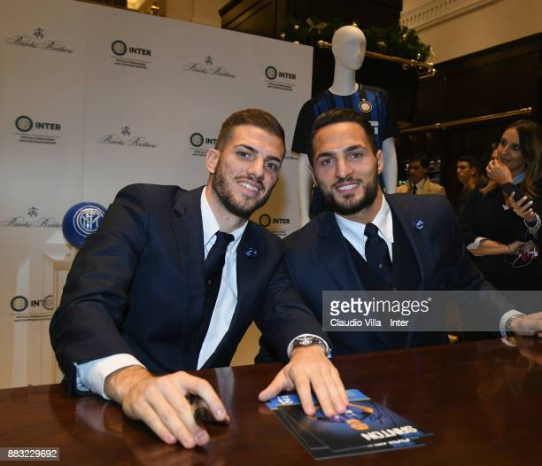 Davide Santon and Danilo D'Ambrosio of FC Internazionale attend during the FC Internazionale Team visit Brooks Brother Store on November 30 2017 in...