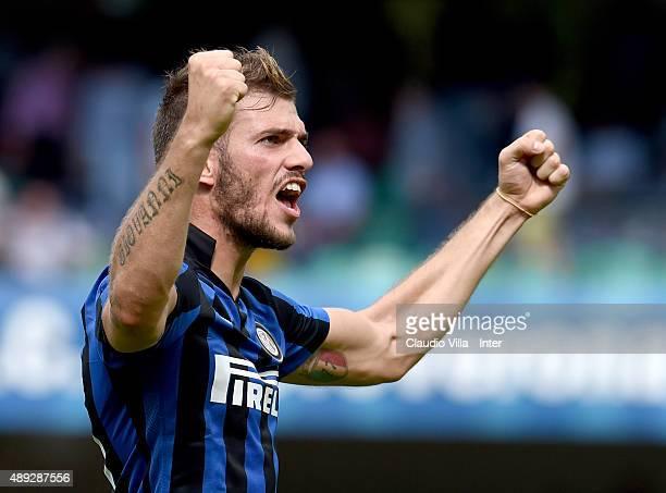 Davide Santon celebrates at the end of the Serie A match between AC Chievo Verona and FC Internazionale Milano at Stadio Marc'Antonio Bentegodi on...