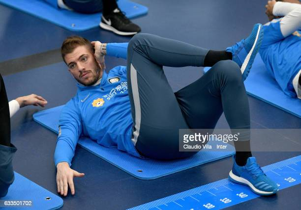 Davide Santon in action during a FC Internazionale training session at Suning Training Center at Appiano Gentile on February 2 2017 in Como Italy