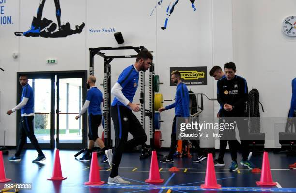 Davide Santon of FC Internazionale in action during the FC Internazionale training session at Suning Training Center at Appiano Gentile on December...