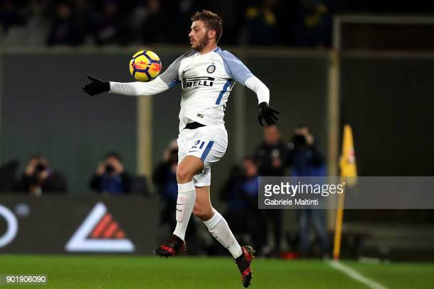 Davide Santon of FC Internazionale in action during the serie A match between ACF Fiorentina and FC Internazionale at Stadio Artemio Franchi on...