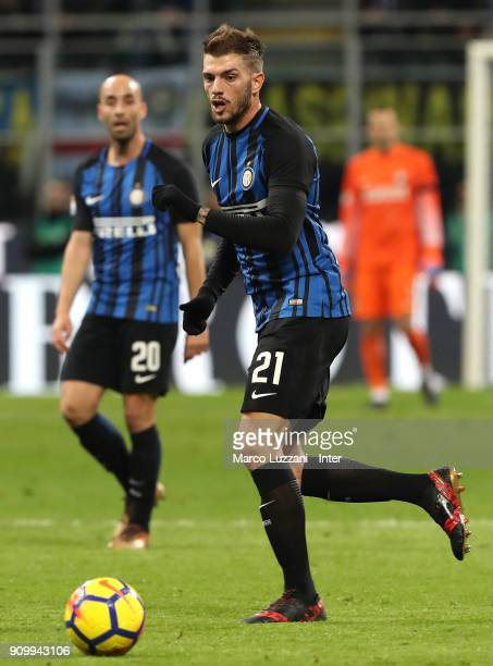 Davide Santon of FC Internazionale in action during the Serie A match between FC Internazionale and AS Roma at Stadio Giuseppe Meazza on January 21...